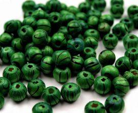 Csíkos fa gyöngy - 8mm - zöld