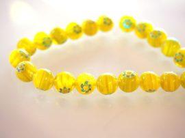 10mm Türkiz Millefiori lime virágok - festett üveg gyöngy