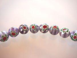 12mm Türkiz Millefiori ametiszt virágok - festett üveg gyöngy