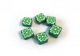 FIMO négyzet gyöngy zöld - 10db