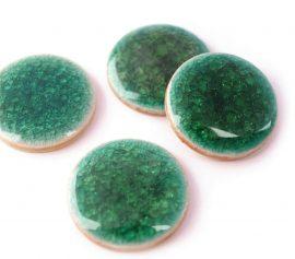 Színes kerámia kaboson - zöldeskék