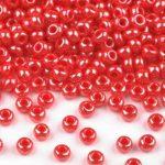 Piros gyöngyház színű telt üveg kásagyöngy - 10/0, 10g