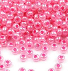 Pink gyöngyház színű telt üveg kásagyöngy - 10/0, 10g
