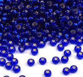 Kék ezüst közepű cseh üveg kásagyöngy 10/0 - Preciosa - 10g