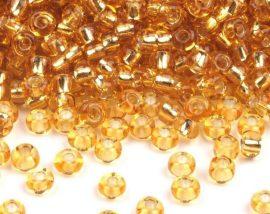 Arany ezüst közepű cseh üveg kásagyöngy 10/0 - Preciosa - 10g