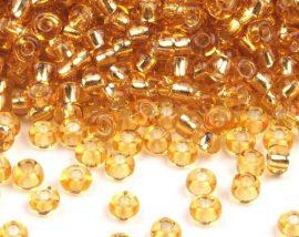 Arany ezüst közepű cseh üveg kásagyöngy 11/0 - Preciosa - 10g