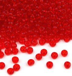 Piros átlátszó  cseh üveg kásagyöngy 11/0 - Preciosa - 50g