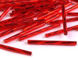 Vörös ezüstközepű Preciosa csavart szalma 30mm - 5g
