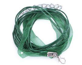 Sötétzöld színű organza szalag