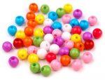 7mm plastic gyöngy vegyes szín - 10g