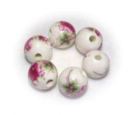 Virágos porcelán gyöngy - 12mm