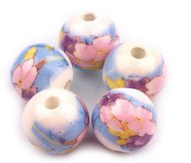 Világoskék porcelán gyöngy - 12mm