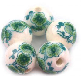 Zöldike porcelán gyöngy - 12mm