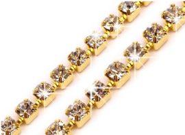 Arany-kristály strassz lánc 2,4mm