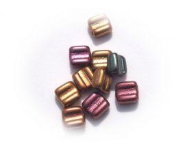 Silky block kétlyukú  - 6x6mm - szivárványos matt barna mix