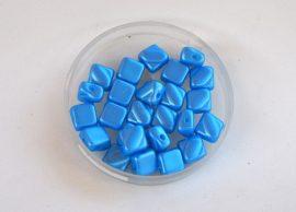 Silky diamonds kétlyukú gyöngy - 6x6mm - matt kék