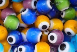 Szem festésű üveg gyöngy - 8mm, színkeverék 5db
