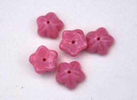 Virág, rózsaszín színű - cseh üveggyöngy -  10mm - 5db