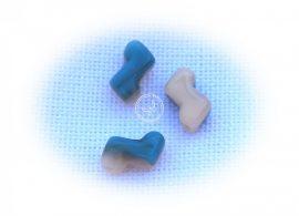 Zorro kétlyukú gyöngy 5x6mm - krém kék